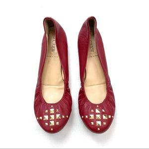 J. Crew Cece Pyramid-Studded Red Ballet Flats